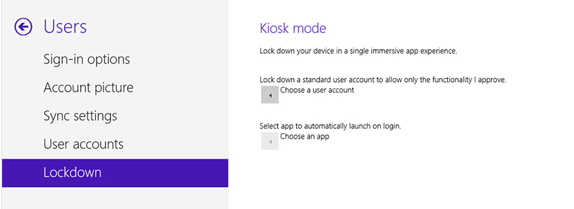Print screen showing Kiosk mode settings in Win8.1