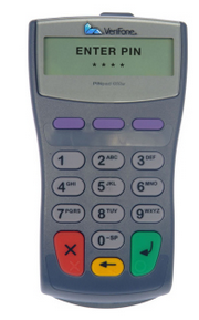 credit card payment terminal issuing a pin challenge for a user.