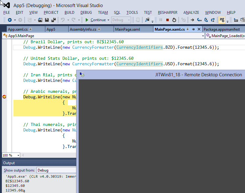 Debuggin Win8.1 apps in VS2012