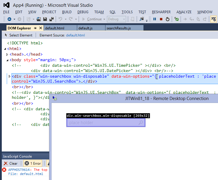 Debugging WinJS 2.0 apps in VS2012