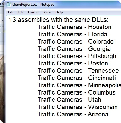 Clone Report showing 13 cloned Traffic Cameras apps