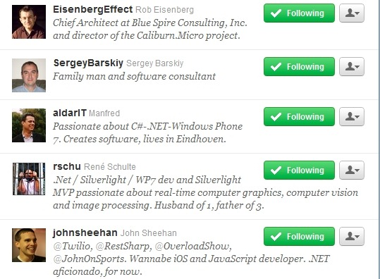 Top WP7 Framework Devs Twitter list