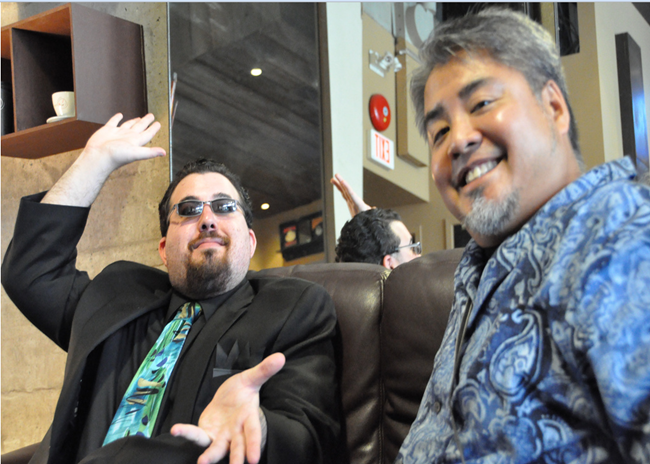 Striking another pose with Joey Devilla at Coffee and Code Vancouver