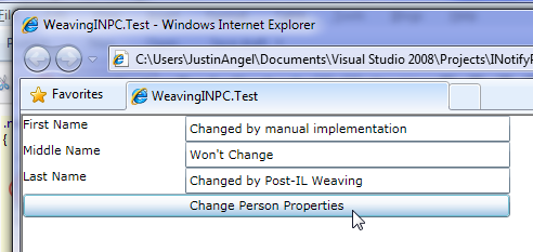 form after clicking with INPC changes