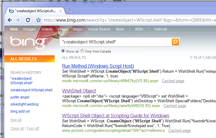 Bing Search Results for: CreateObject WScript.Shell