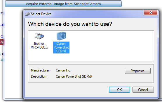 Device Selection Dialog