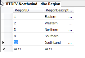 The JustinLand record inserted into a local Database
