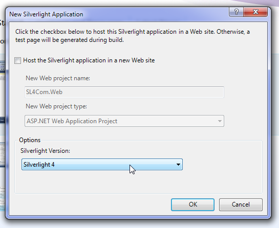 Selecting Silverlight 4 project