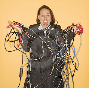 Woman Tangled in Wires - analogous to messing about with COM+