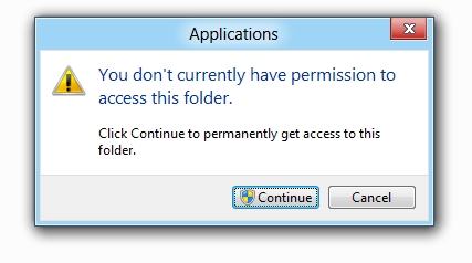 You don't have permission to access this folder dialogue