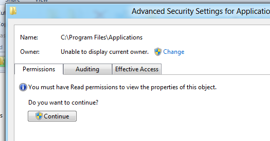 Advanced Security tab for C:\Program Files\Applications