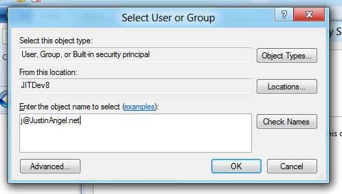 Select user or group for C:\Program Files\Applications owner
