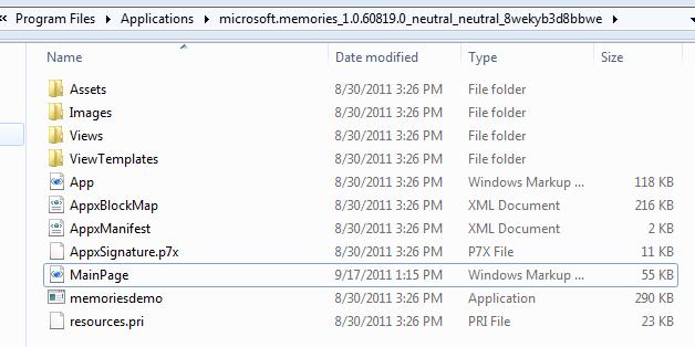 C# memories app folder