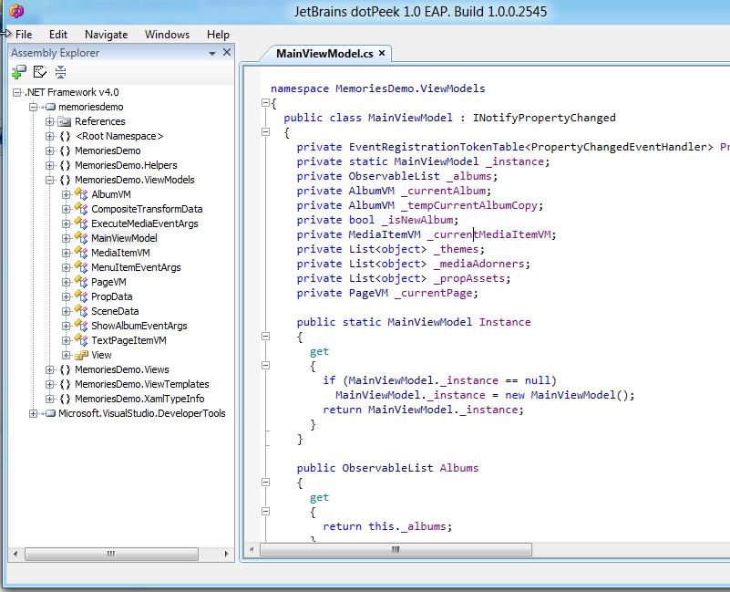 dotPeek reverse engineering MainViewModel for Memories app