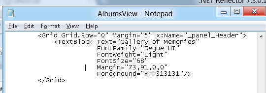 Default XAML for AlbumsView memories XAML