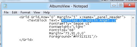 Modified AlbumsView.xaml file