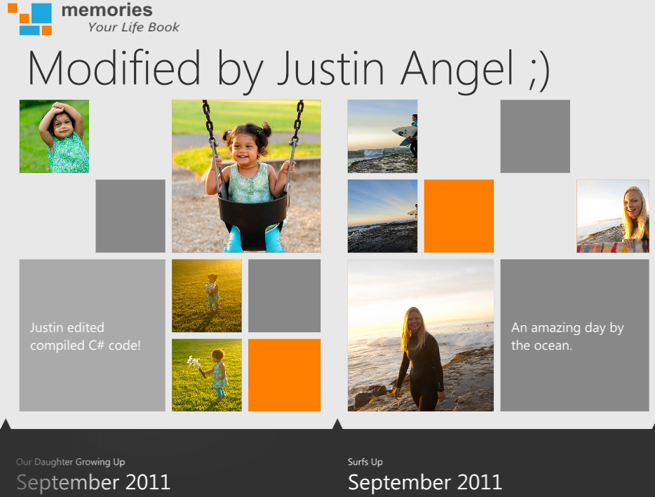 Memories app with XAML and C# modifications
