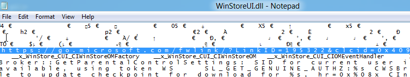 WinStoreUI.dll opened up in Notepad with a URL highlighted