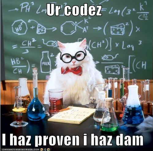 LOLCat in tie and glasses with caption: Your code, I have proven I have it