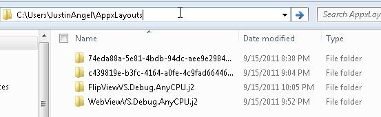 Print screen of the C:\Users\JustinAngel\AppxLayouts folder