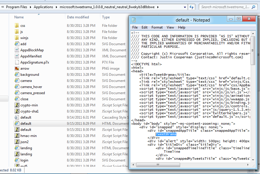 Tweet@rama app folder with page source code in notepad