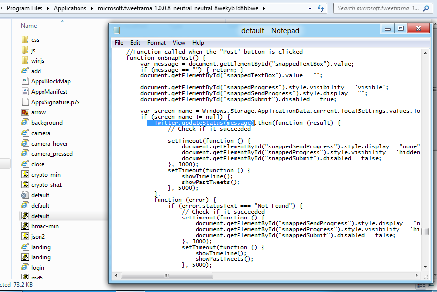 Tweet@rama app folder with page javascript source code in notepad