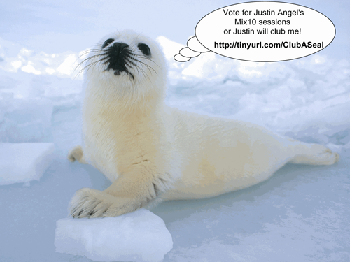 Vote for Justin Angel's Mix10 sesions or Justin will club this baby seal!