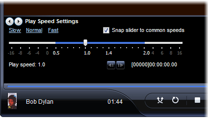 Windows Media Player, Play Speed Controls