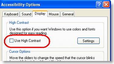 "Windows ""High Contrast"" mode"