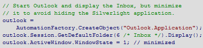 Code using Silverlight 4 COM Automation