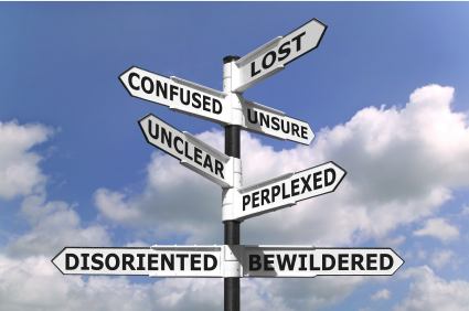 Signpost saying: Lost? Confused? Unsure? Uncleaer? Perplexed? Disoriented? Bewildered?