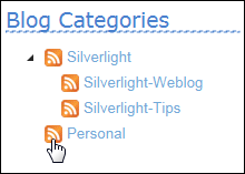 Categories Tree displays RSS Buttons