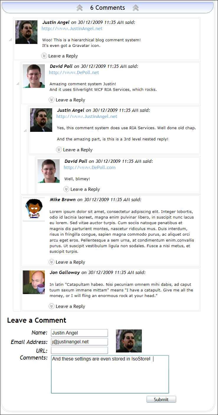 Sample of 6 comments in Silverlight Weblog