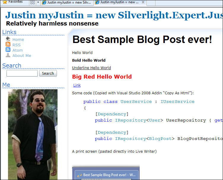 The Blog post displayed live