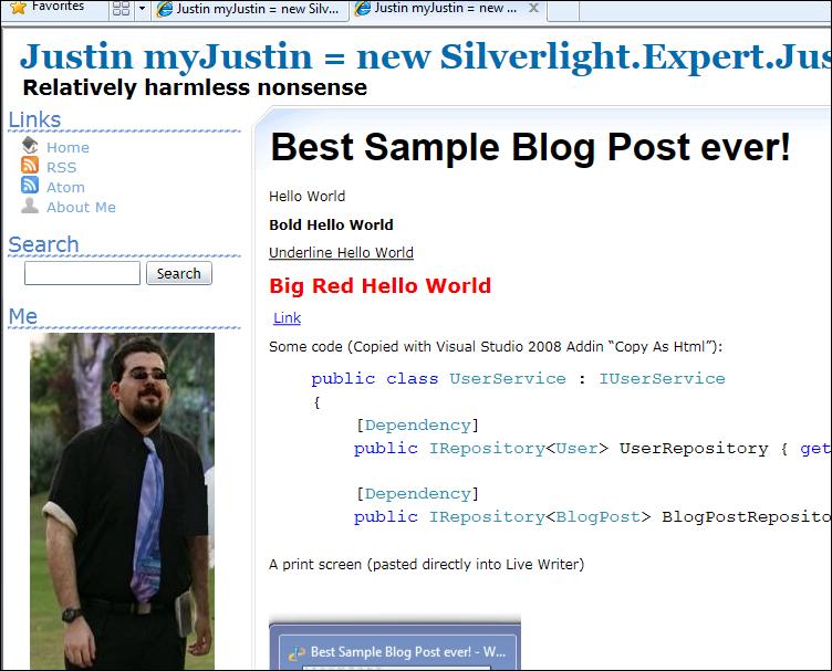 The Blog post displayed live