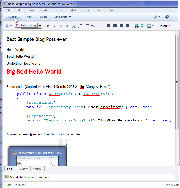 Authoring a blog post in Windows Live Writer