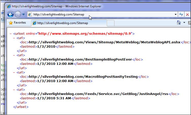 Silverlight Weblog testing Sitemap