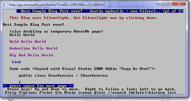 Text view of Lynx Silverlight Weblog