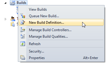 Setting up a new Build Definition in VS2010