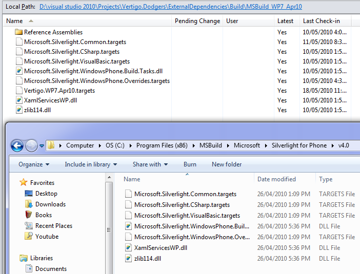 WP7 MSBuild Extensions dragged & dropped into source control