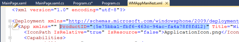 Visual Studio with the WMAppManifest.xml file open