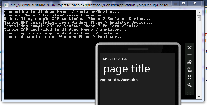 Windows Phone 7 Emulator launched by CMD Automation from a Console app