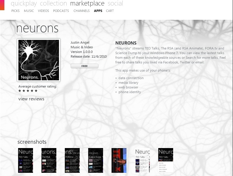 Neurons on the Zune Marketplace