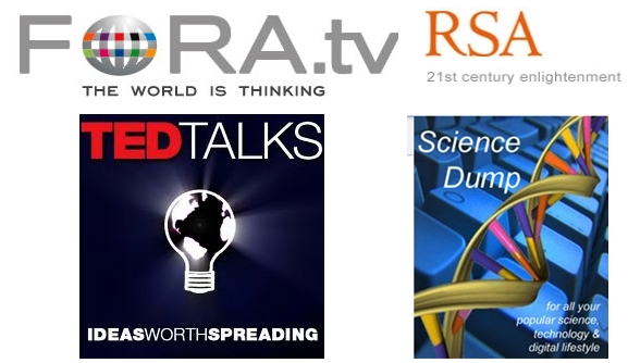 TED, RSA, Fora.TV and Science Dump logos