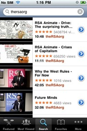 YouTube iPhone app with theRSAorg search