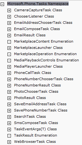 WP7 Tasks List from MSDN