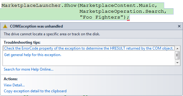 MarketplaceLauncher Exception