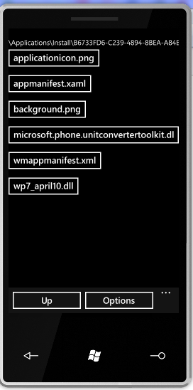 The contents of an Installed XAP