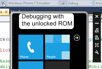 Debugging with the unlocked ROM